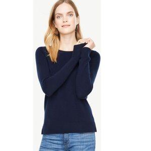Ann Taylor Navy Blue Cashmere Crewneck Sweater L
